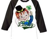 St. Patricks Day Boys Tee Shirt Lucky Baseball style Raglan tee shirt boys St. Paddy's Day