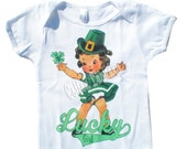 St Patricks Day tank tee shirt one piece body suit tshirt Vintage inspired childrens tshirt Lucky Girl..St. Paddy's Day