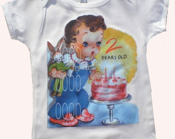 Birthday Vintage Inspired Childrens tshirt Birthday Personalized with AGE