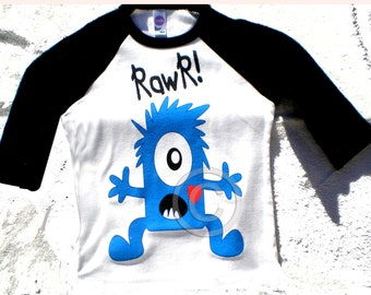 Monster RAWR Tee Shirt Childrens Raglan. Goofy and cute googly eyed monster of your choice