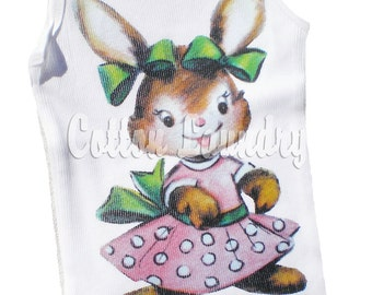 Easter tank tee shirt one piece body suit tshirt Vintage inspired childrens tshirt  Easter Pink Bunny..