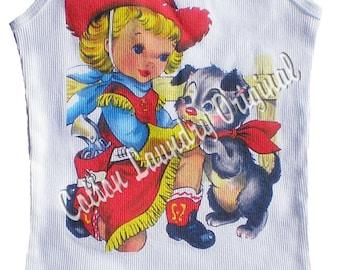 tank, tee shirt, tshirt, cap sleeve, ribbed tank Vintage inspired childrens tshirt Lil western girl.
