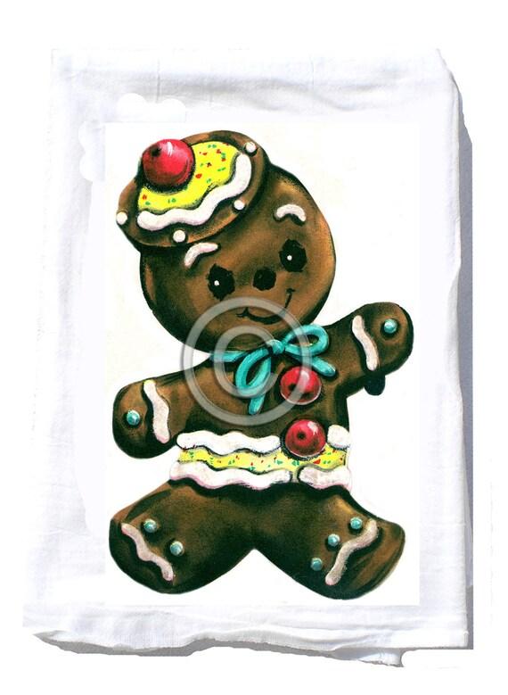 Christmas Gift - Tea Towel -Hostess Gift -Christmas Party Gift - Hostess Kitchen - Teacher Gift - Gingerbread