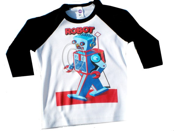 Raglan Tshirt Vintage Childrens Raglan Robots...pick your robot...second picture