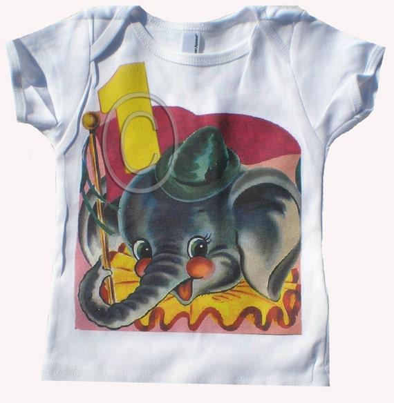 Birthday tee shirt Circus Elephant Vintage inspired Tshirt Birthday tank tee shirt long sleeve