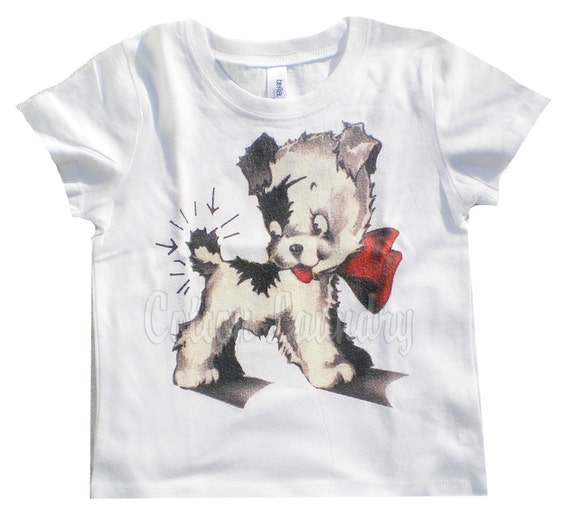 tank tee shirt one piece body suit tshirt Vintage inspired childrens tshirt Puppy/kewpie dog...