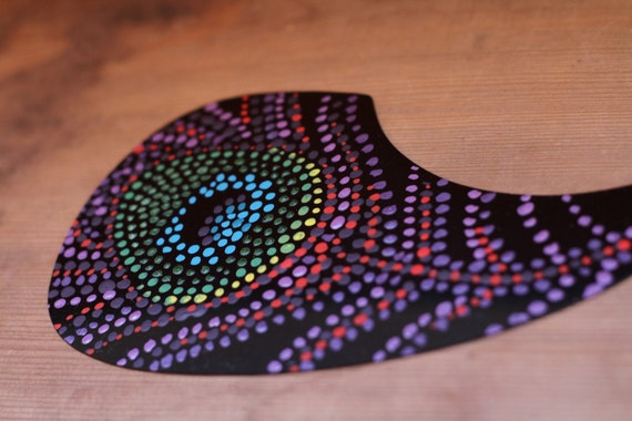hand painted pickguard for acoustic guitar peacock feather. Black Bedroom Furniture Sets. Home Design Ideas