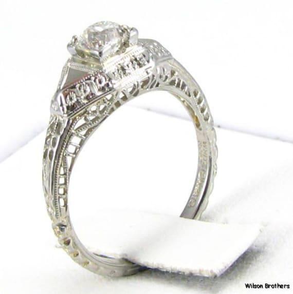 Art Deco 18k White Gold .45ct Mine Cut Diamond Filigree Engagement Ring