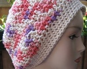 Purple, Withe,Pink Coral   Hat Baggy Cotton Crochet  READY to SHIP