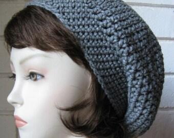 Grey  -Gray heather  Hand Croche  Beanie Slouchy