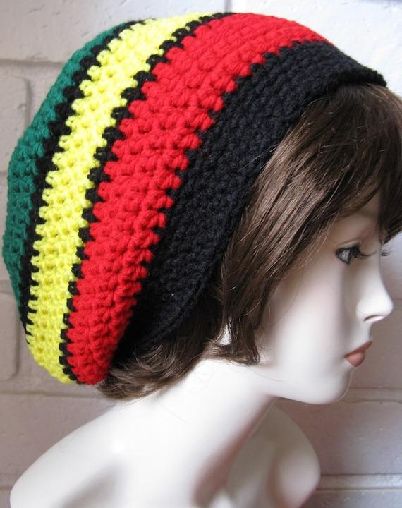 Crochet Pattern Rasta Hat : Jamaican /Black Hippie Rasta Tam Slouchy Hat crochet