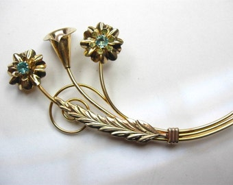 calla lily brooch Pin  Gold vermeil white co