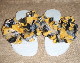 Pittsburg Steelers Spirit Sandals/ Flip-Flops/ Slippers Size 7/8