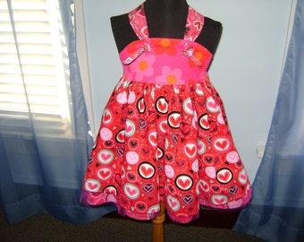 SALE Be my Valentine knot dress, size 4T-6T