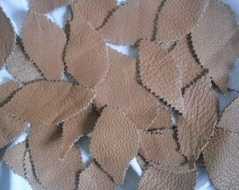 Leather Leaf (55pieces )Lambskin/Handmade. Leather/Applique/For Accessories,Flowers,Decorations,Jewelry,Bags..