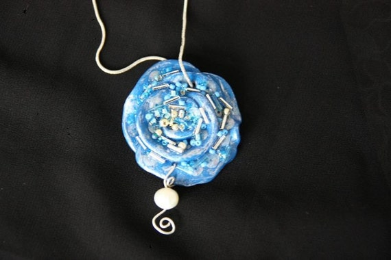 Necklace/Sterling Silver 925/ Beadwork/Polymer Clay Flower