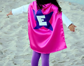 Kids Cape - Hot Pink with Dark Purple Star