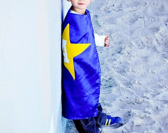 Kids Cape - Blue with Yellow Star
