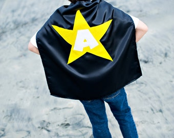 Kids Cape - Black with Yellow Star