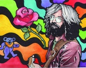Grateful Dead - Jerry Garcia with a Dead Bear and Rose - Deadhead Art - Hippie Art - Psychodelic Art - print of original painting