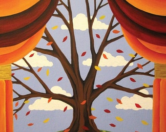 Tree of Life Changing Seasons - Fall Tree - print of original painting