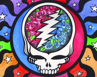 "Grateful Dead Steal Your ""Vase"" Face  -Deadhead Art - Hippie Psychodelic Home Decor -  print of original painting"