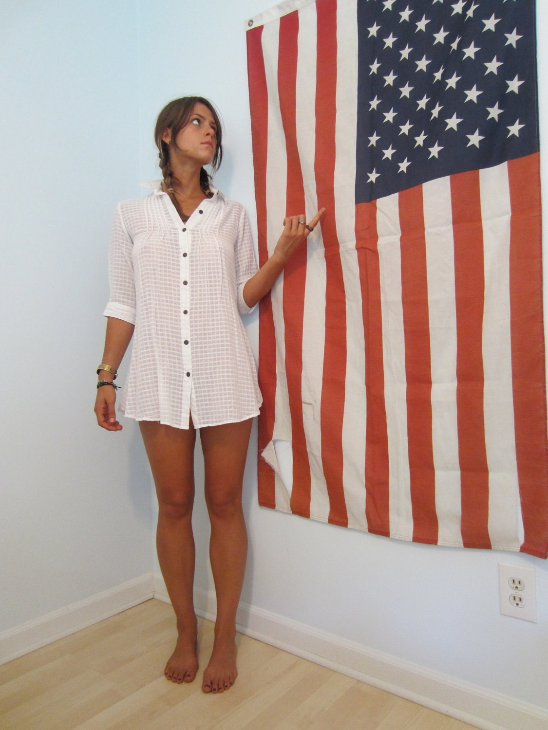 Rugged Usa Vintage American Flag Wall Hanging Huge By