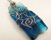 upcycled glass pendant wire wrapped azure ocean blue ready to ship