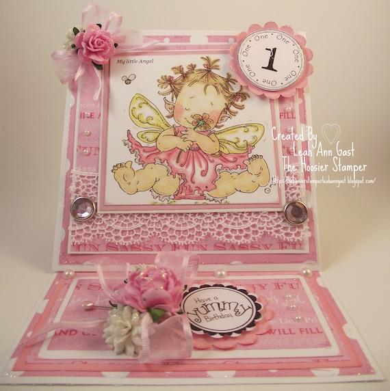 Handmade OOAK Baby Girl 1st Birthday Keepsake Easel Card