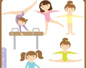 Gymnastics Clipart Set Digital Download Images, Scrapbook, Graphics, Crafters - Personal and Commercial Use Clipart