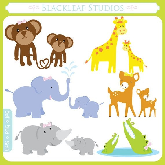Items similar to Mother and Baby Jungle Animals Clipart ...