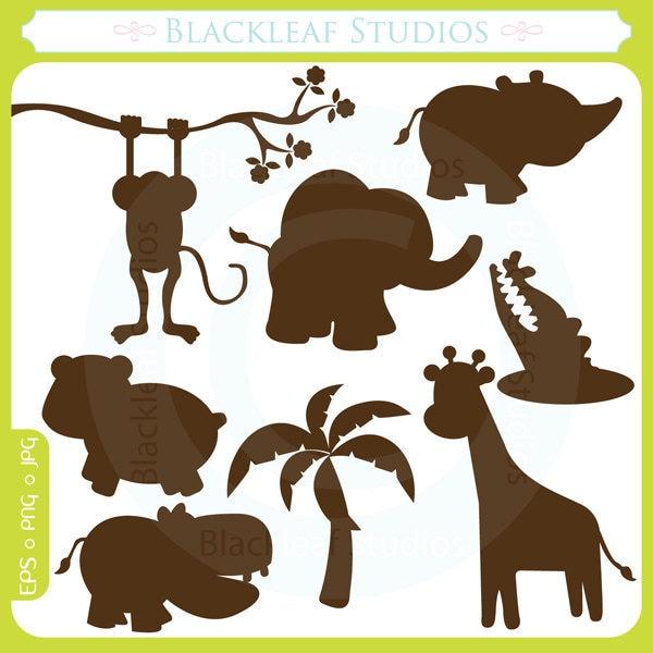 Cute Jungle Animals Silhouettes Clipart Set Digital Download