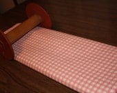 vintage pink and white gingham corduroy fabric- 1 yard