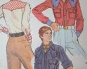 vintage vogue men's weatern wear shirt pattern- uncut 9443