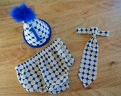 Baby Boy / Toddler Party Hat,  Necktie & Diaper Cover Cake Smash Outfit in Royal blue and Ivory Dots