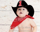 Cowboy Birthday Party Set in Cow Hide Red Bandana and Cowboy Hat Cake Smash outfit