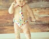 Baby Boy / Toddler Necktie & Diaper Cover Set in Primary Polka Dot