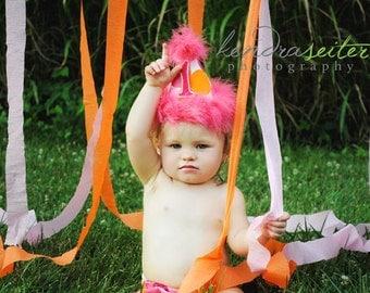 2 Piece Birthday Grils Party Set in Flamingo Pink Orange and White Polka