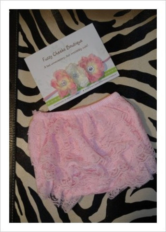 READY 2 SHIP 0-6 Month Ruffled Lace Bloomers and Headband in soft pink and white