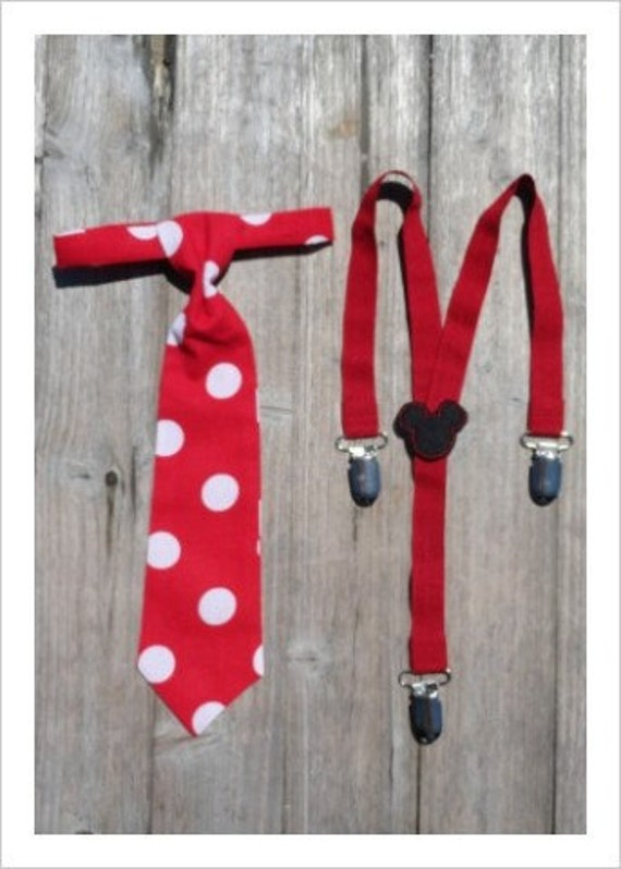 Baby Boy / Toddler Necktie and Suspenders in Red and White Polka Dot and Mickey Mouse