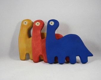 Set of 3 Primary Red Yellow Blue Dinosaur Ceramic Art Tiles Ohio Pottery