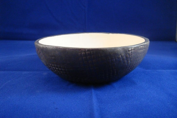 handmade bronze/gold and silver/grey metallic textured ceramic pottery bowl