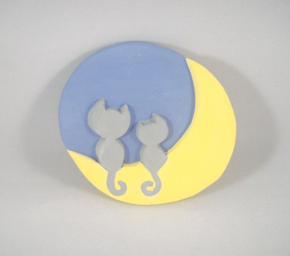 Lovey Dovey Kitty Cats on the Moon Round Ceramic Pottery Art Tile