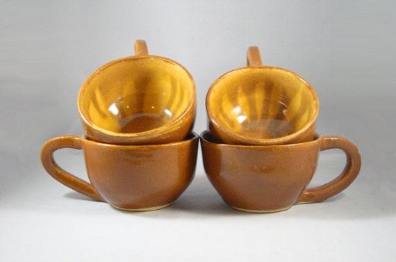 Set of 4 Beige Brown Hand Wheel Thrown Ceramic Pottery Coffee Cups