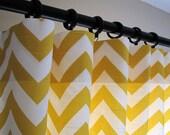 Pair of Decorative Designer Custom Curtains Drapes  50 x 108  Corn Yellow and White Chevron Zig Zag  Contemporary Modern Style