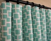 New -Pair of Decorative Designer Custom Curtains Drapes 50 x 96  Square Lattice in Aqua and White Contemporary Modern Style