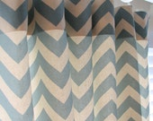 Designer Curtains - Pair of Decorative Designer Custom Curtains Drapes  50 x 108  Spa Blue and Natural Chevron Zig Zag