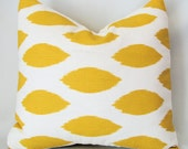 Designer Decorative Pillow Cover in Corn Yellow and White Ikat 18 inch Removeable Cover Contemporary Modern Style