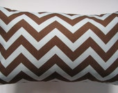 Designer Decorative Pillow Cover Chevron in Blue and Chocolate Brown Lumbar 14 x 20 inch Removeable Cover Contemporary