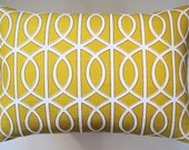 Designer Decorative Pillow Cover Trellis in Citrine 14 x 20 inch Removeable Cover Contemporary Modern Style